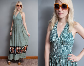 Vintage 1970's I Checkered | Novelty Print | Halter Top | Maxi | Dress | XS
