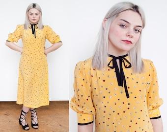 Vintage 1980's | Yellow | Floral | Givenchy | Nouvelle Boutique | Silk | Midi | Dress | S