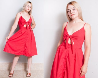 Vintage 1980's | Red | Cut Out | Tie Bodice | Spaghetti Strap | Dress | S