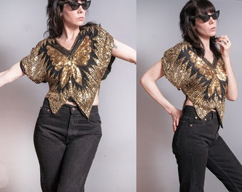 Vintage 1970's | Black & Gold | Sequin | Butterfly | Disco | Silk | Top | S