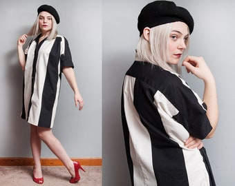 Vintage 1980's | OS | Black & White | Vertical | Striped | Button Down | Cotton | Dolman Sleeve | Shirt Dress | SML