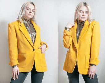 Vintage 1990's | Oversized | Yellow | 100% Wool | Blazer | OS or M/L