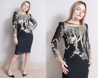Vintage 1970's | Gold & Silver | Metallic | Floral | Black | Sheer | Disco | Dress | XS