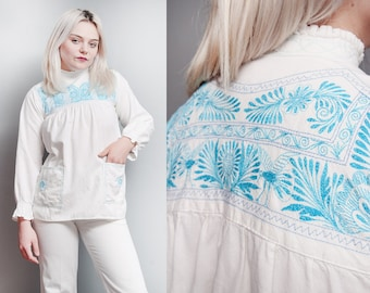 Vintage 1970's | White | Cotton | Embroidered | Boho | Ethnic | Top | XS