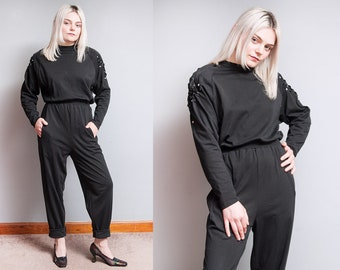 Vintage 1980's | Black | Jumper | Pant | Playsuit | Embellished Shoulders | Jumpsuit | S