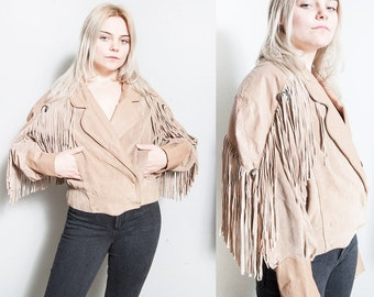 Vintage 1980's | Leather & Suede | Southwestern | Fringe | Jacket | M