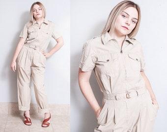 Vintage 1990's | Khaki | 100% Cotton | Coveralls | Playsuit | Pant | Jumpsuit | S/M