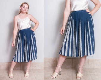 Vintage 1980's | Navy Blue & White | Accordion | Pleated | Skirt | XS
