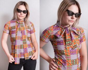 Vintage 1960's | Polka Dot | Ascot Tie Collar | MOD | Top | XS to XXS