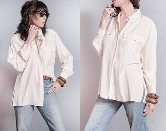 Vintage 1990's | Liz Claiborne | Ivory | OS | 100% Silk | Button Down | Minimalist | Blouse | OS or SML
