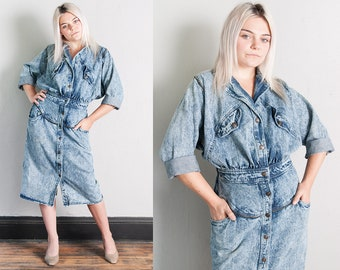 Vintage 1980's | Stone Washed | Denim | Jean | Dolman Sleeve | Dress | M