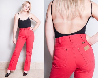 Vintage 1970's/1980's | Red | WRANGLER | Jeans | Five Pocket | High Rise | Denim | Slim Fit | XS/S