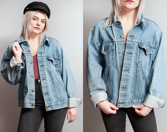 Vintage 1980's/1990's | LEVI'S | Distressed | Medium Wash | Denim | Jean | Jacket | M/L