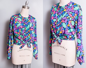 Vintage 1980's | Colorful | Geometric Pattern | Printed | Button Down | Blouse | Top | M