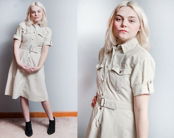 Vintage 1980's | Khaki | Gitano | Military Style | Dress | XS/S