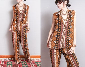 Vintage 1990's | Printed | Patterned | Loose Fitting | Lightweight | 2 Piece Outfit | Top & Pants | M