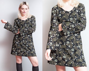 Vintage 1990's | Black | Mod Floral | Grunge | Mini | Dress | M