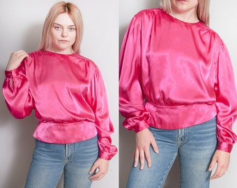 Vintage 1980's | Hot Pink | Peplum | Silky | Blouse | Top | M/L