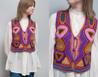 Vintage 1970's I Multi-Color | Patchwork | Suede | Sweater Vest | Boho | S/M
