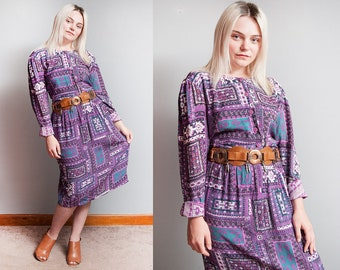 Vintage 1970's | Purple | Rayon | Made in India | Aztec Pattern | Dress | L