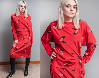 Vintage 1980's | Red | Bold | Leaf Print | Batwing Sleeve | Side Tie | Midi | Dress | M