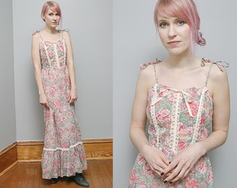 Vintage  70's Pink Floral Maxi Summer Boho Dress Spaghetti Straps - S