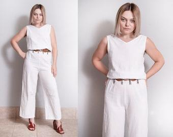 Vintage 1990's | White | Minimalist | Pant | Jumpsuit | Playsuit | S