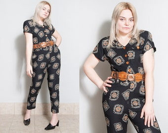 Vintage 1980's/1990's | Black | Patterned | Jumpsuit | Playsuit | S