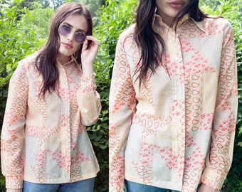 Vintage 1970's | Vera | Paisley | Sheer | Button Down | Blouse | Top | M