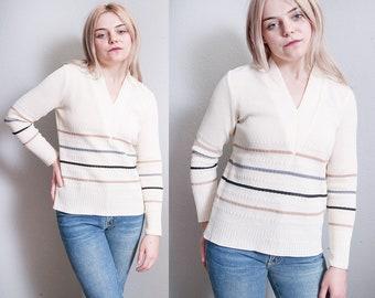 Vintage 1970's | Striped | V-Neck | Minimalist | Pullover | Top | S
