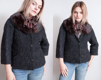 Vintage 1950's | Black | Wool | Boucle | Cropped | Jacket | Fur | Collar | 3/4 Sleeves | M