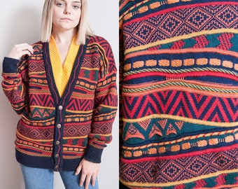 Vintage 1980's | Colorful | Oversized | Unisex | Cardigan | Wool | Sweater | SML
