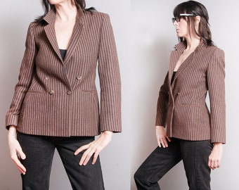 Vintage 1970's | Brown | Striped | Fitted | Double Breasted | Wool | Blazer | Jacket | S