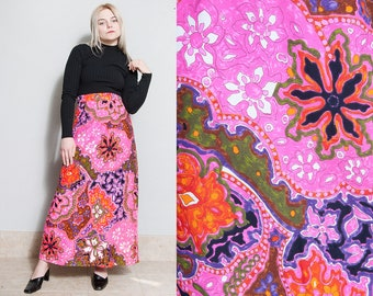 Vintage 1970's | Pink | Psychedelic | Floral | Maxi | Skirt | S