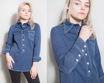Vintage 1970's | ANNE KLEIN | Blue | Cotton | Pullover | Large Collar | Top | S
