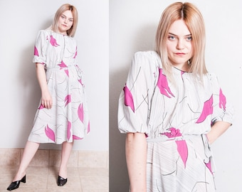 Vintage 1980's | Graphic | Abstract | Print | New Wave | Dress | L/XL