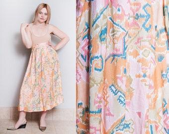 Vintage 1990's | Southwestern | Pattern | Rayon | Desert | Midi | Skirt | XS