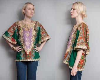 Vintage 1970's I Green | Heavily Embroidered | Cotton | Boho | Dashiki | Top | S/M