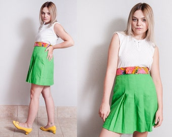 Vintage 1960's | Green | Pleated | MOD | Scooter | Mini | Skirt | XS/S