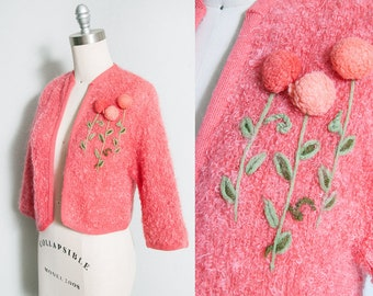 Vintage 1950's/1960's | Pink | Floral | Cropped | Cardigan | XS/S