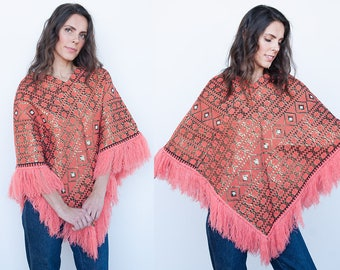VTG | 1970's | Orange | Gold Metallic | Boho | Fringe | Pullover Poncho | S/M