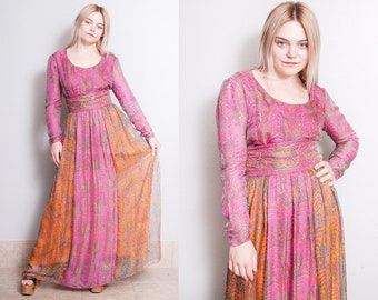 Vintage 1970's | Silk | Gown | Maxi | Dress | Made in Spain | M