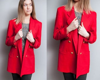Vintage 1980's/1990's | Red | Oversized | Merino Wool | Boyfriend | Double Breasted | Blazer | M/L