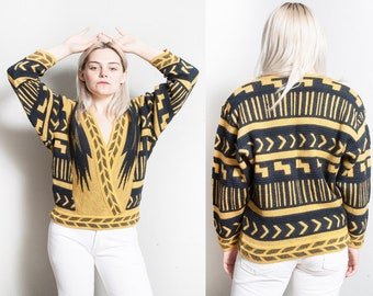 Vintage 1980's | MARC CAIN | Designer | Cross Bodice | Pullover | Sweater | S/M
