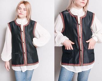 Vintage 1970's | Black | 100% Silk | Vest | Made in India | Unisex | L