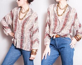 Vintage 1970's | Printed | Patterned | Dolman Sleeve | Blouse | S/M