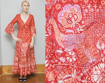 VTG 70's Red Floral Peacock Pattern Maxi Dress Bell Sleeves Boho Hippie Folk Festival Fashion - S