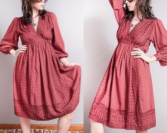 Vintage 1970's | India Cotton | Eyelet | Empire Waist | Bohemian | Dress | SML