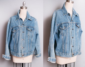 Vintage 1990's | Levi's | Distressed | Denim | Jean | Unisex | Jacket | OS or SML