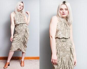 Vintage 1980's | Leaf Motif | Sleeveless | Midi | Dress | M